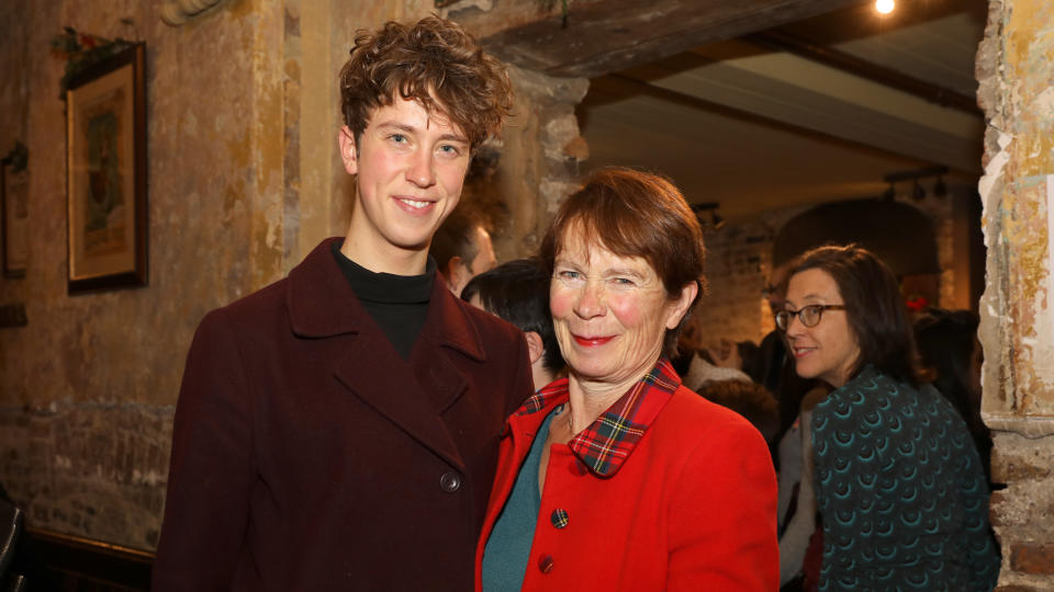 """Angus Imrie and Celia Imrie attend a drinks reception during the press night performance of """"The Box Of Delights"""" on December 7, 2017. (Photo by David M. Benett/Getty Images)"""