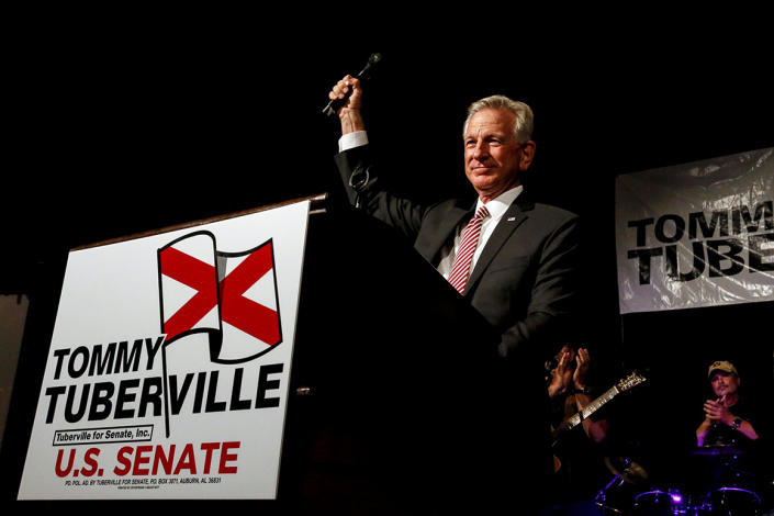 Tommy Tuberville celebrates his lopsided victory over former Alabama Sen. Jeff Sessions in the GOP Runoff.