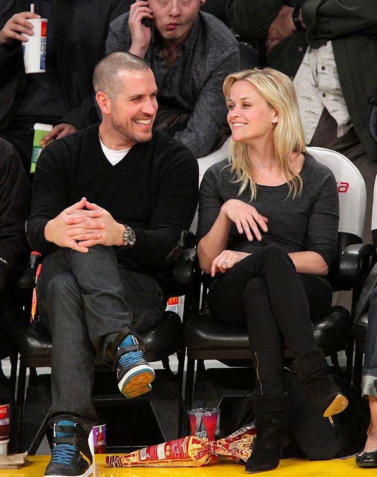 "Another celeb rocking a brand new piece of bling this week was Reese Witherspoon, who debuted her beautiful 4-carat, $250,000 Ashoka-cut diamond ring from CAA agent Jim Toth on Tuesday night at Staples Center where the L.A. Lakers took on the Detroit Pistons. Noel Vasquez/<a href=""http://www.gettyimages.com/"" target=""new"">GettyImages.com</a> - January 4, 2011"