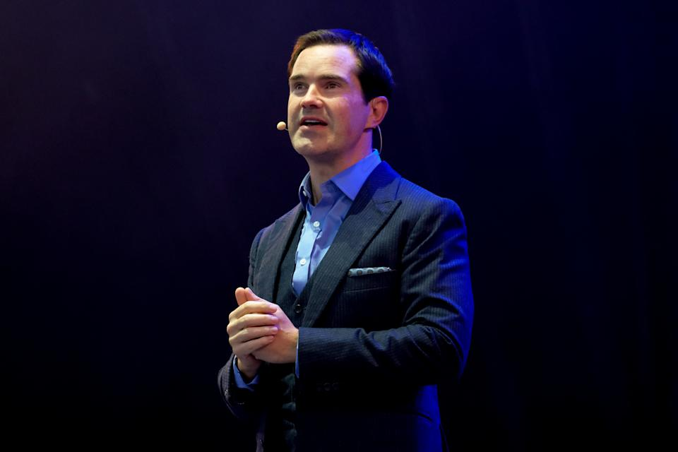 NEWCASTLE UPON TYNE, ENGLAND - AUGUST 31: Jimmy Carr performs at Virgin Money Unity Arena on August 31, 2020 in Newcastle upon Tyne, England. (Photo by Thomas M Jackson/Getty Images)