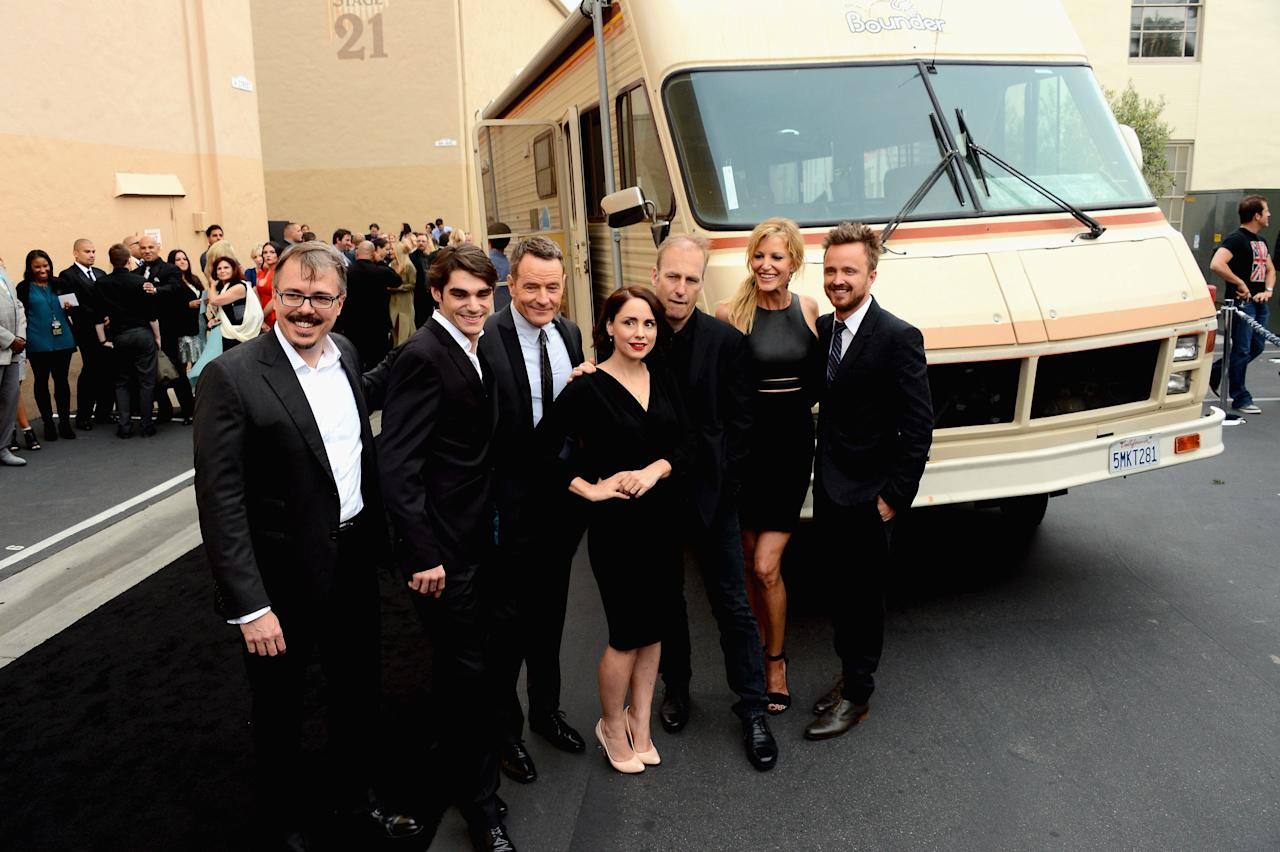 "CULVER CITY, CA - JULY 24: (L-R) Creator/executive director Vince Gilligan, actors RJ Mitte, Bryan Cranston, Laura Fraser, Bob Odenkirk, Anna Gunn and Aaron Paul arrive as AMC Celebrates the final episodes of ""Breaking Bad"" at Sony Pictures Studios on July 24, 2013 in Culver City, California. (Photo by Mark Davis/Getty Images)"