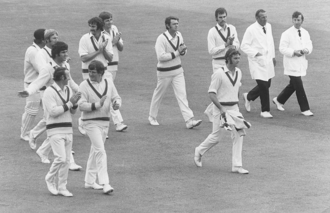 23 Jun 1972:  Cricketer Bob Massie, the Australian pace bowler, is clapped off at Lords by his teamates after his extraordinary Ashes debut. He returned figures of 16-137   for the match.  Mandatory Credit: Allsport Hulton/Archive