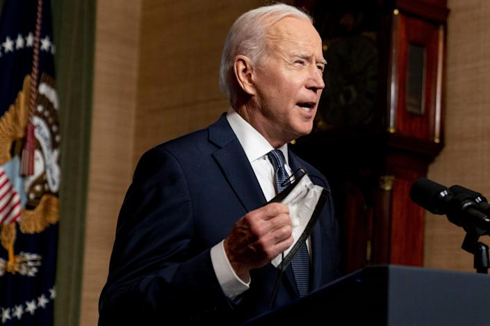 President Joe Biden unmasked the White House treaty room on Wednesday, April 14, 2021 and talked about the withdrawal of the remaining US troops from Afghanistan.