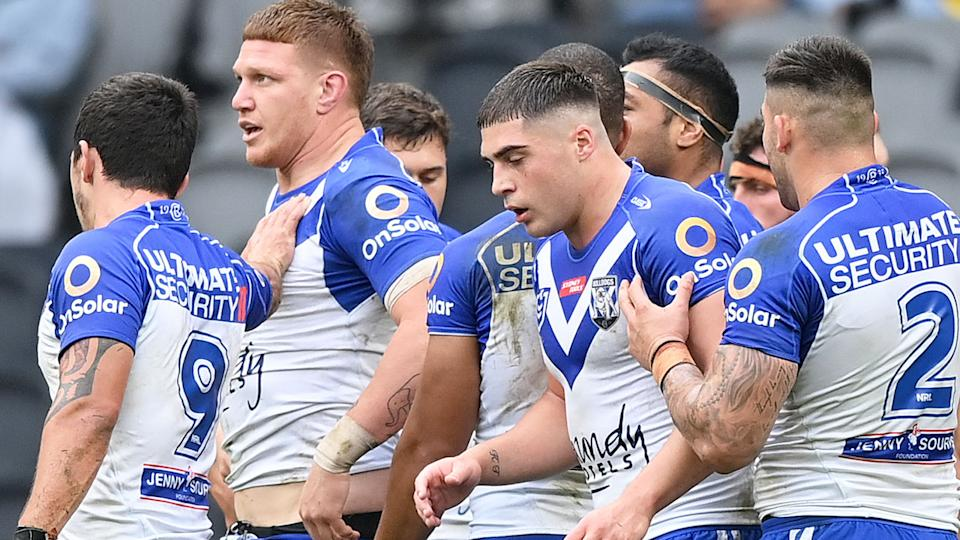 Seen here, Bulldogs players in a huddle during their NRL defeat to Parramatta.