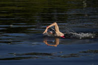 Florian Wellbrock, of Germany, competes in the men's marathon swimming event at the 2020 Summer Olympics, Thursday, Aug. 5, 2021, in Tokyo, Japan. (AP Photo/Jae C. Hong)