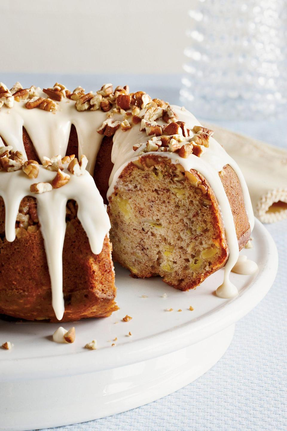 """<p><strong>Recipe: <a href=""""https://www.southernliving.com/recipes/hummingbird-bundt-cake-recipe"""" rel=""""nofollow noopener"""" target=""""_blank"""" data-ylk=""""slk:Hummingbird Bundt Cake"""" class=""""link rapid-noclick-resp"""">Hummingbird Bundt Cake</a></strong></p> <p>Instead of spending time icing cake layers, try this old-fashioned cake in your Bundt pan for presentation that's just as pretty in so much less time.</p>"""
