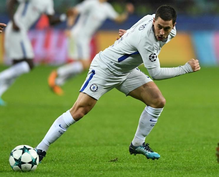 Chelsea's midfielder Eden Hazard is seen in action during the UEFA Champions League football match against Qarabag November 22, 2017