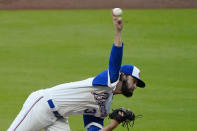 Atlanta Braves starting pitcher Ian Anderson (36) delivers in the first inning of a baseball game against the Philadelphia Phillies, Saturday, April 10, 2021, in Atlanta. (AP Photo/John Bazemore)