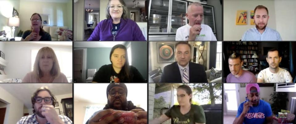 A collage of people all sitting at their computers in their homes