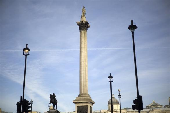 A view of Nelson's column in Trafalgar Square in London March 8, 2012. London will host the Olympics Games this summer.