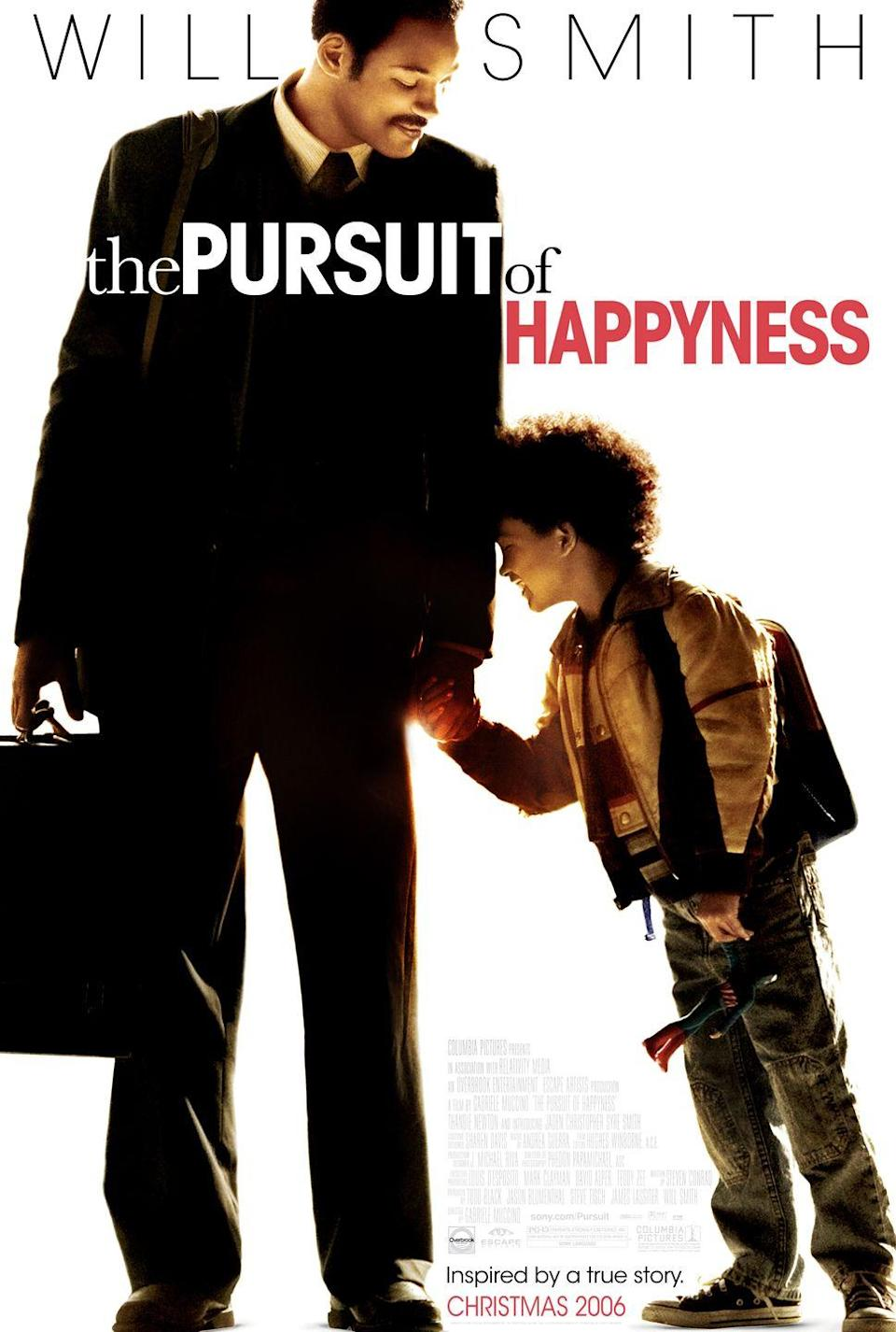 """<p><a class=""""link rapid-noclick-resp"""" href=""""https://www.amazon.com/Pursuit-Happyness-Will-Smith/dp/B000OW77UU/ref=sr_1_2?dchild=1&keywords=the+pursuit+of+happyness&qid=1614179695&sr=8-2&tag=syn-yahoo-20&ascsubtag=%5Bartid%7C10063.g.35716832%5Bsrc%7Cyahoo-us"""" rel=""""nofollow noopener"""" target=""""_blank"""" data-ylk=""""slk:Watch Now"""">Watch Now</a></p><p>Based on the true story of Chris Gardner, a homeless father who raised his son while aspiring to be—and eventually become—a stock broker. <em>The Pursuit of Happyness</em> is a heart wrenching film that details how this one man battled with losing his home, navigating a new career, and keeping his son in good spirits amidst the chaos of life.</p>"""