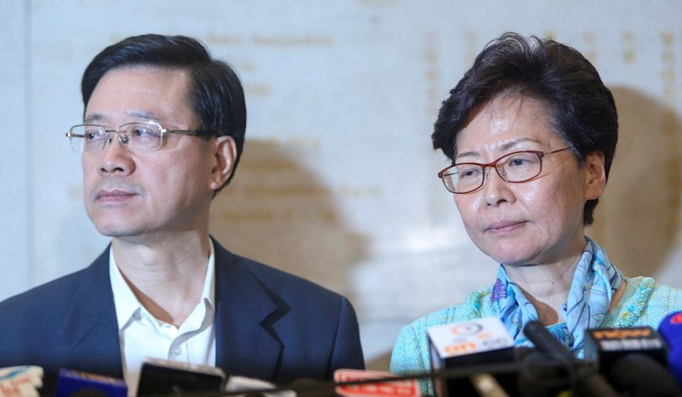 Chief Executive Carrie Lam (right) and Secretary for Security John Lee meet the press after the storming of Legco. Photo: Winson Wong
