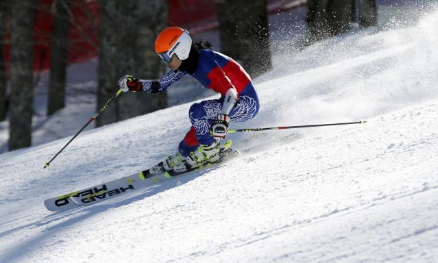 Vanessa Mae skis during free practice at the Rosa Khutor Alpine Center in the 2014 Sochi Winter Olympics