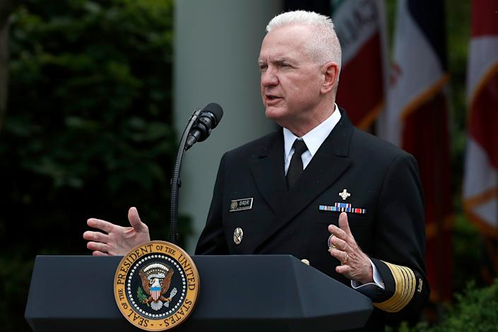 Adm. Brett Giroir, assistant secretary of Health and Human Services, speaks about the coronavirus during a press briefing in the Rose Garden of the White House, Monday, May 11, 2020, in Washington. (AP Photo/Alex Brandon)