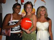 """LONDON - AUGUST 17: (L-R) Actresses Pooja Shah, Scarlett Johnson and Brooke Kinsella attend the afterparty following the UK Premiere of """"Dodgeball: A True Underdog Story"""" at Sound Leicester Square August 17, 2004 in London, England. (Photo by David Westing/Getty Images)"""