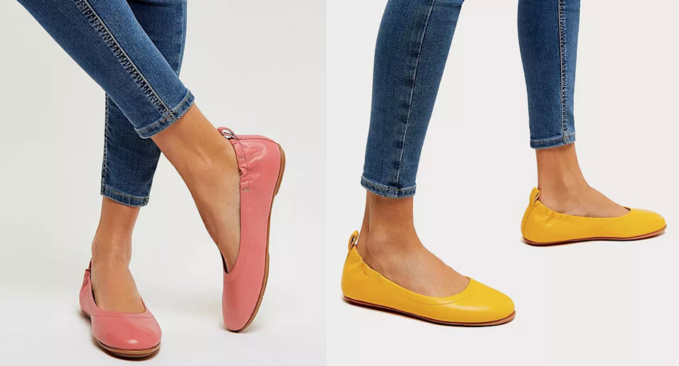 The Allegro Soft Leather Ballet Flats are a hit among shoppers thanks to their superior comfort. Images via Fitflop.