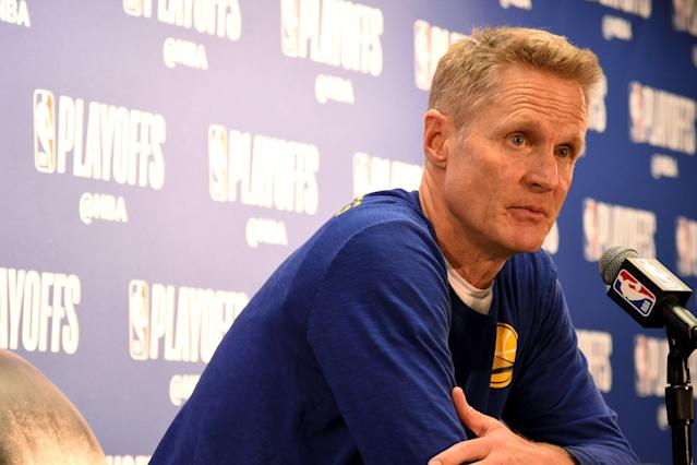 Steve Kerr wants the NBA to change its rules about technical fouls in the postseason. (Andrew D. Bernstein/Getty Images)