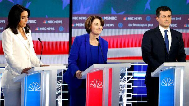 PHOTO: Democratic presidential candidates Rep. Tulsi Gabbard, D-Hawaii, Sen. Amy Klobuchar, D-Minn., and South Bend, Ind., Mayor Pete Buttigieg, participate in a Democratic presidential primary debate, Nov. 20, 2019, in Atlanta. (John Bazemore/AP)
