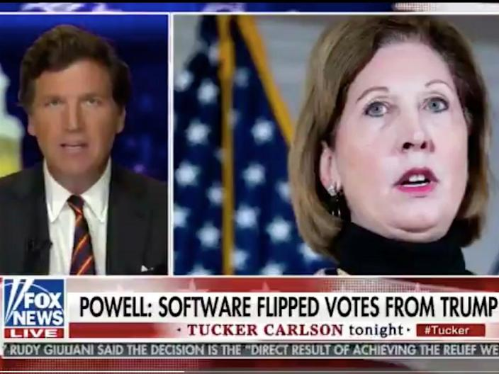 Tucker Carlson lays into Sidney Powell (Fox News)