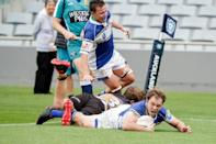 Squids' Bobby Richards scores a try against Eden Lizards in the U85 final at Eden Park