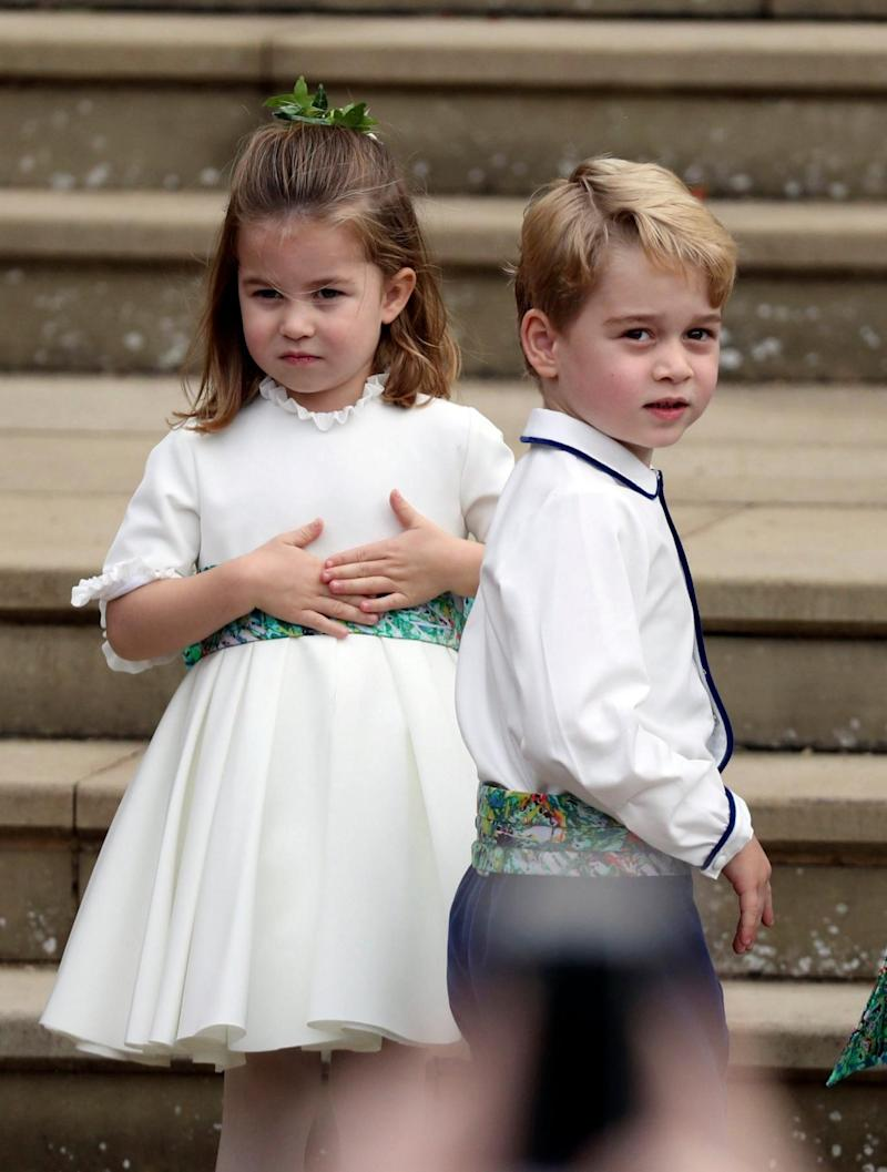 Prince George and Princess Charlotte arrive for the the wedding of Princess Eugenie (AP)