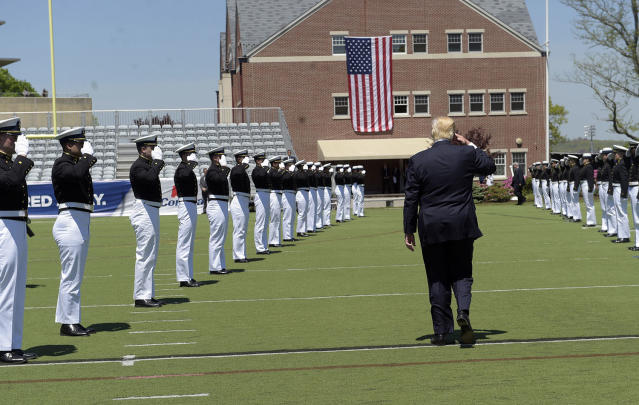 <p>President Donald Trump salutes as he leaves commencement exercises at the U.S. Coast Guard Academy in New London, Conn., Wednesday, May 17, 2017, where he gave the commencement address. (Photo: Susan Walsh/AP) </p>