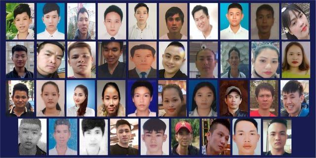 Family handout photo issued by Essex Police of (left to right top row) Dinh Dinh Binh, Nguyen Minh Quang, Nguyen Huy Phong, Le Van Ha, Nguyen Van Hiep, Bui Phan Thang, Nguyen Van Hung, Nguyen Huy Hung, Nguyen Tien Dung, Pham Thi Tra My, (left to right second row) Tran Khanh Tho, Nguyen Van Nhan, Vo Ngoc Nam, Vo Van Linh, Nguyen Ba Vu Hung, Vo Nhan Du, Tran Hai Loc, Tran Manh Hung, Nguyen Thi Van, Bui Thi Nhung, (third row left to right) Hoang Van Tiep, Tran Thi Ngoc, Phan Thi Thanh,Tran Thi Tho, Duong Minh Tuan, Pham Thi Ngoc Oanh, Tran Thi Mai Nhung, Le Trong Thanh, Nguyen Ngoc Ha, Hoang Van Hoi, (bottom row left to right) Tran Ngoc Hieu, Cao Tien Dung, Dinh Dinh Thai Quyen, Dang Huu Tuyen, Nguyen Dinh Luong , Cao Huy Thanh, Nguyen Trong Thai, Nguyen Tho Tuan and Nguyen Dinh Tu, the 39 Vietnamese migrants, aged between 15 and 44, that were found dead in the back of a trailer (Essex Police/PA)