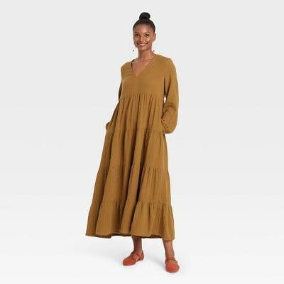 <p>This <span>Universal Thread Balloon Long Sleeve Tiered Dress</span> ($30) adds drama and casual elegance.</p>