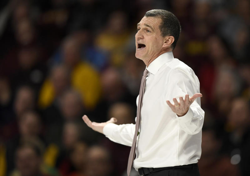 Maryland coach Mark Turgeon watches his team play Minnesota during the first half of an NCAA college basketball game Wednesday, Feb. 26, 2020, in Minneapolis. (AP Photo/Hannah Foslien)
