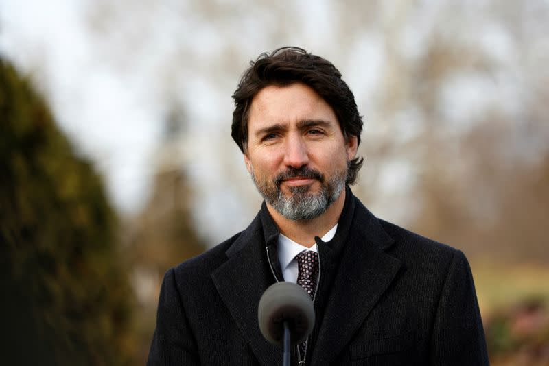 Canada's Prime Minister Justin Trudeau takes part in a news conference at the Ornamental Gardens in Ottawa