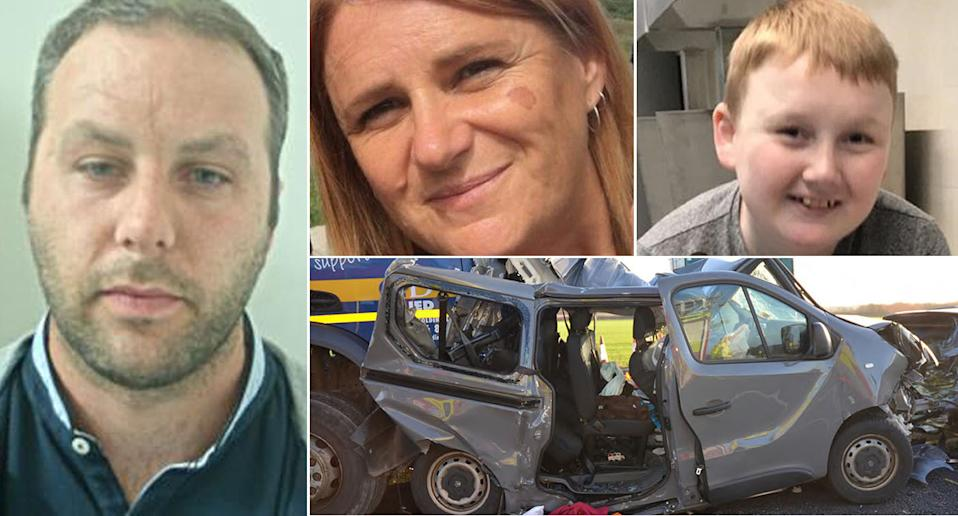 Lorry driver James Majury (left) was playing on apps and games on his phone when he was involved in a crash that killed two people, including Anne Kerr and Joe Cairns (right). (PA)