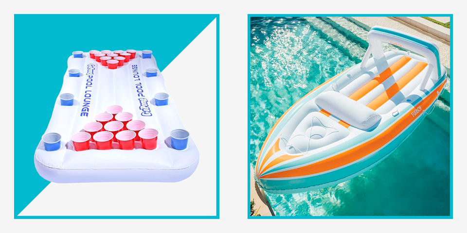 """<p>Let's be real: Did you <em>really</em> enjoy an envy-inducing day of lounging at the pool if you didn't snap a photo of yourself doing exactly that on a giant pool float? In the age of Instagram, the answer is probably not. A fun pool float is just as essential as the right pair of <a href=""""https://www.menshealth.com/style/g19521358/best-sandals-for-men/"""" rel=""""nofollow noopener"""" target=""""_blank"""" data-ylk=""""slk:sandals"""" class=""""link rapid-noclick-resp"""">sandals</a> and a flattering <a href=""""https://www.menshealth.com/style/a19522980/best-mens-bathing-suits/"""" rel=""""nofollow noopener"""" target=""""_blank"""" data-ylk=""""slk:bathing suit"""" class=""""link rapid-noclick-resp"""">bathing suit</a>. Don't worry—if you haven't had the chance to stock up on cool pool floats to pepper throughout the season, there's still time to grab some good ones before <a href=""""https://www.menshealth.com/technology-gear/a36518372/best-memorial-day-sales-2021-deals/"""" rel=""""nofollow noopener"""" target=""""_blank"""" data-ylk=""""slk:Memorial Day weekend"""" class=""""link rapid-noclick-resp"""">Memorial Day weekend</a>.</p><p>Whether you have regular access to a pool, know someone who does, or plan to take your warm-weather plans to a larger body of water, a robust selection of fun pool floats is sure to take the experience to the next level—especially when you've moved beyond straddling foam noodles. Photo opps aside, there's something to be said about relaxing on a quality inflatable that feels, well, luxurious. </p><p>Of course, when you're ready to upgrade your pool setting with some cool new floats, there are some things to consider before you go all-in on your collection. Are you looking for an easy inflatable lounge chair for reading or colorful tubes for the entire family? Maybe you're looking to get an option big enough for a group of adults and make the great outdoors your second home (because if you have the space for it, there's no reason you shouldn't). And we certainly can't forget about those novelty options.</p><p>We"""