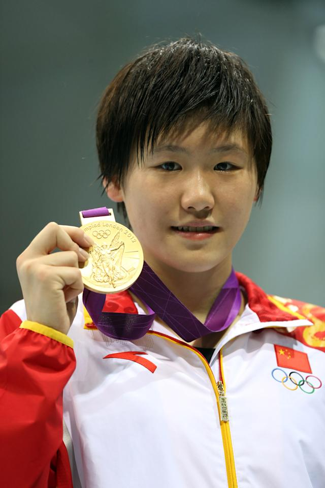LONDON, ENGLAND - JULY 31: Shiwen Ye of China with her bgold medal from the Womens 200m IM during the 2012 London Olympics at the Aquatics Centre on July 31, 2012 in London, England. (Photo by Ian MacNicol/Getty Images)