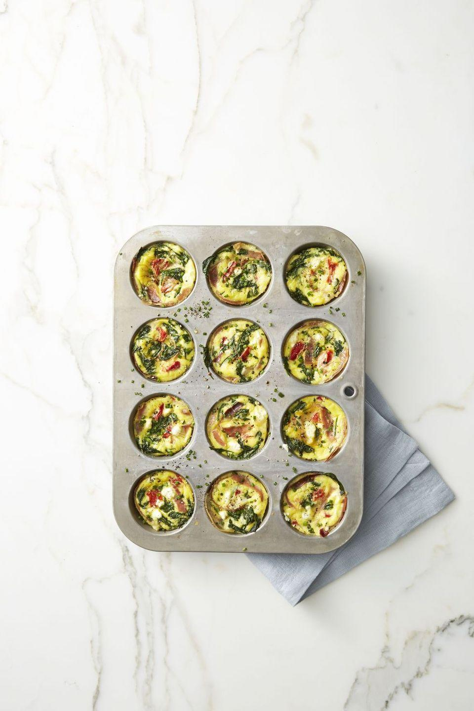 "<p>Pop these healthy egg ""muffins"" in the microwave for 30 seconds to reheat, and bring with you on-the-road to Grandma's.</p><p><em><a href=""https://www.goodhousekeeping.com/food-recipes/easy/a42206/spinach-and-prosciutto-frittata-muffins-recipe/"" rel=""nofollow noopener"" target=""_blank"" data-ylk=""slk:Get the recipe for Spinach and Prosciutto Frittata Muffins »"" class=""link rapid-noclick-resp"">Get the recipe for Spinach and Prosciutto Frittata Muffins »</a></em></p>"