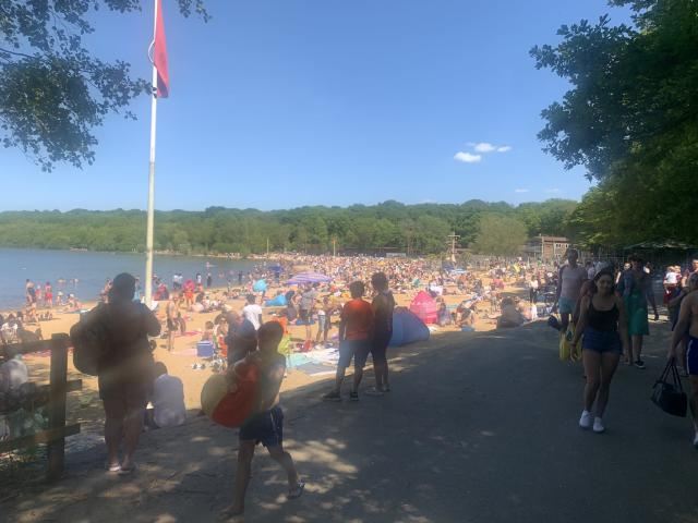 Visitors to Ruislip lido, which police were called to on 25 May. (Hillingdon Police)