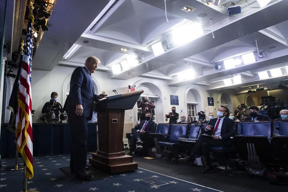 President Donald Trump speaks at a televised press briefing. He peddled false claims of far-reaching election fraud. (Jabin Botsford/The Washington Post via Getty Images)