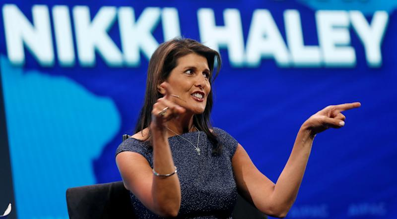 Former U.S. Ambassador to the United Nations Nikki Haley speaks at AIPAC in Washington. (Photo: Reuters/Kevin Lamarque)