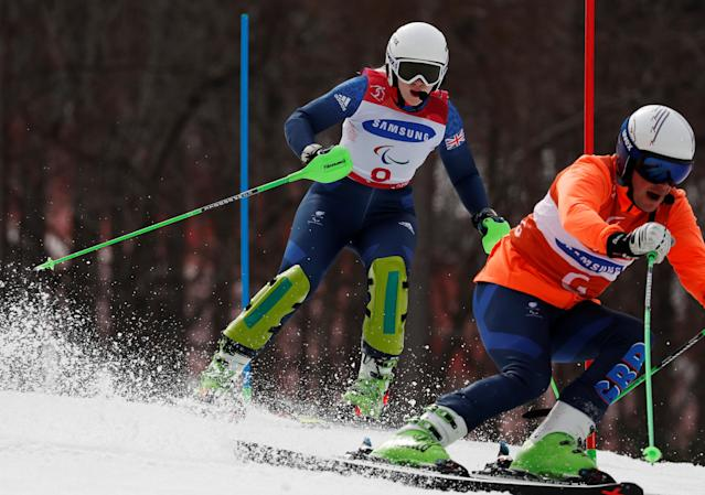 Alpine Skiing - Pyeongchang 2018 Winter Paralympics - Women's Slalom - Visually Impaired - Run 2 - Jeongseon Alpine Centre - Jeongseon, South Korea - March 18, 2018 - Kelly Gallagher of Britain and her guide. REUTERS/Paul Hanna