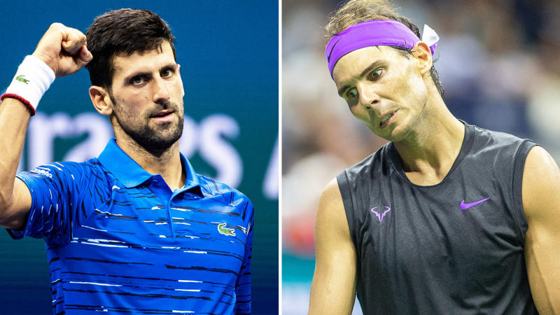 Novak Djokovic (pictured left) fist pumping and Rafa Nadal (pictured right) looking frustrated.