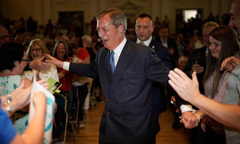 Nigel Farage works an adoring crowd at his Brexit party rally in Nottingham yesterday.