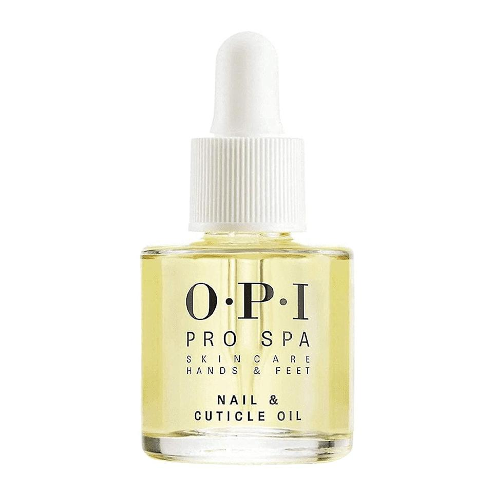 "<p>""I use cuticle oil every time I do my makeup — any brand works. I have extensions on my nails right now, but it's helped the overall health of my nails.""</p> <p><strong>Buy It! </strong><a href=""https://www.amazon.com/OPI-ProSpa-Nail-Cuticle-0-29/dp/B0725XWF6R/ref=sr_1_6?"" rel=""nofollow noopener"" target=""_blank"" data-ylk=""slk:OPI Manicure Nail & Cuticle Oil, $9.95; amazon.com"" class=""link rapid-noclick-resp"">OPI Manicure Nail & Cuticle Oil, $9.95; amazon.com</a></p>"