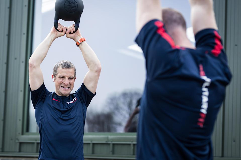 Grylls took part in an outdoor session using kettlebells (Be Military Fit/PA)