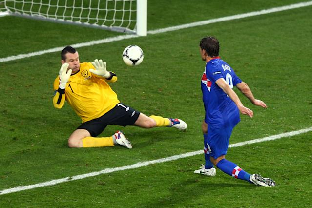POZNAN, POLAND - JUNE 10: Nikica Jelavic of Croatia scores their second goal past Shay Given of Republic of Ireland during the UEFA EURO 2012 group C between Ireland and Croatia at The Municipal Stadium on June 10, 2012 in Poznan, Poland. (Photo by Clive Mason/Getty Images)