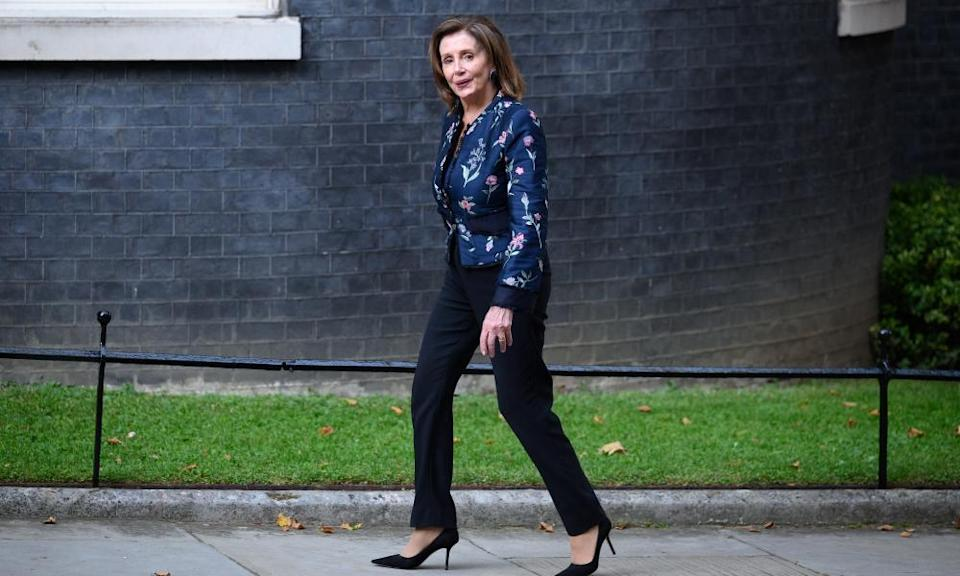 The US House speaker, Nancy Pelosi, arrives for a meeting with Boris Johnson at Downing Street