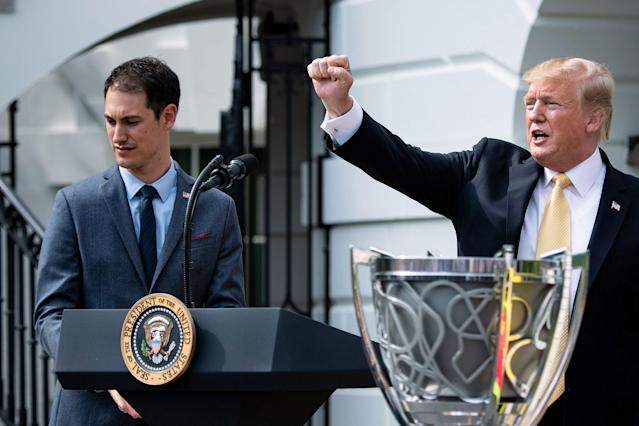 "President Donald Trump welcomed <a class=""link rapid-noclick-resp"" href=""/nascar/sprint/drivers/1542/"" data-ylk=""slk:Joey Logano"">Joey Logano</a> to the White House in 2019. (Photo by Brendan Smialowski / AFP) (Photo credit should read BRENDAN SMIALOWSKI/AFP via Getty Images)"