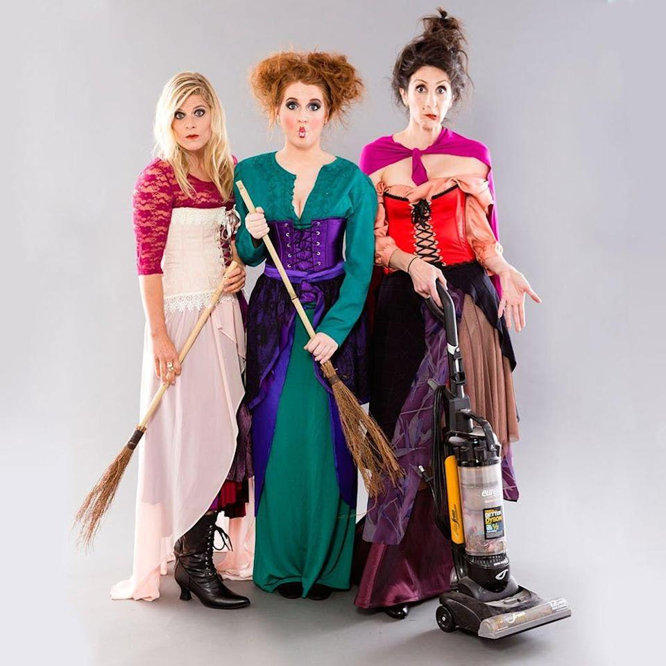 """<p>Sisters! Run amok (amok!) in these costumes based on the witches from <em>Hocus Pocus</em>. Not much for DIY? You can buy <a href=""""https://www.countryliving.com/shopping/news/g4786/hocus-pocus-costume-collection/"""" rel=""""nofollow noopener"""" target=""""_blank"""" data-ylk=""""slk:Sanderson sisters costumes"""" class=""""link rapid-noclick-resp"""">Sanderson sisters costumes</a> at a surprisingly low price.</p><p><strong>Get the tutorial at <a href=""""https://www.brit.co/hocus-pocus-halloween-costume/"""" rel=""""nofollow noopener"""" target=""""_blank"""" data-ylk=""""slk:Brit & Co"""" class=""""link rapid-noclick-resp"""">Brit & Co</a>.</strong></p><p><strong><a class=""""link rapid-noclick-resp"""" href=""""https://www.amazon.com/WB670-Womens-Fold-Over-Maxi-Skirt/dp/B00KXCV9BO/?tag=syn-yahoo-20&ascsubtag=%5Bartid%7C10050.g.21530121%5Bsrc%7Cyahoo-us"""" rel=""""nofollow noopener"""" target=""""_blank"""" data-ylk=""""slk:SHOP MAXI SKIRTS"""">SHOP MAXI SKIRTS</a></strong></p>"""
