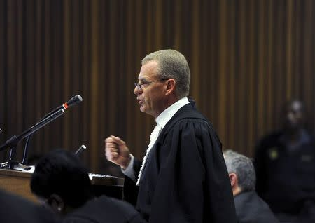 State Prosecutor Gerrie Nel speaks during the closing arguments in the trial of South African Olympic and Paralympic sprinter Oscar Pistorius in the North Gauteng High Court in Pretoria, August 7, 2014. REUTERS/Werner Beukes/Pool