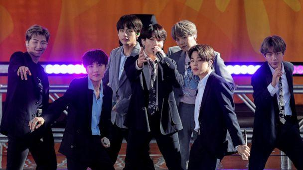 PHOTO: Members of K-Pop band, BTS perform on ABC's 'Good Morning America' in Central Park in New York City, May 15, 2019. (Brendan Mcdermid/Reuters)