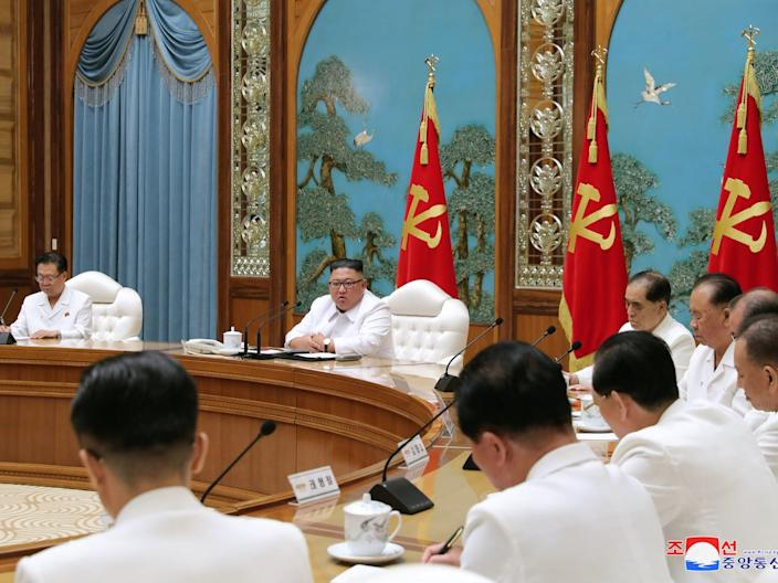 North Korean leader Kim Jong Un holds an emergency enlarged meeting of Political Bureau of WPK Central Committee in this undated photo released on July 25, 2020 by North Korean Central News Agency (KCNA) in Pyongyang.