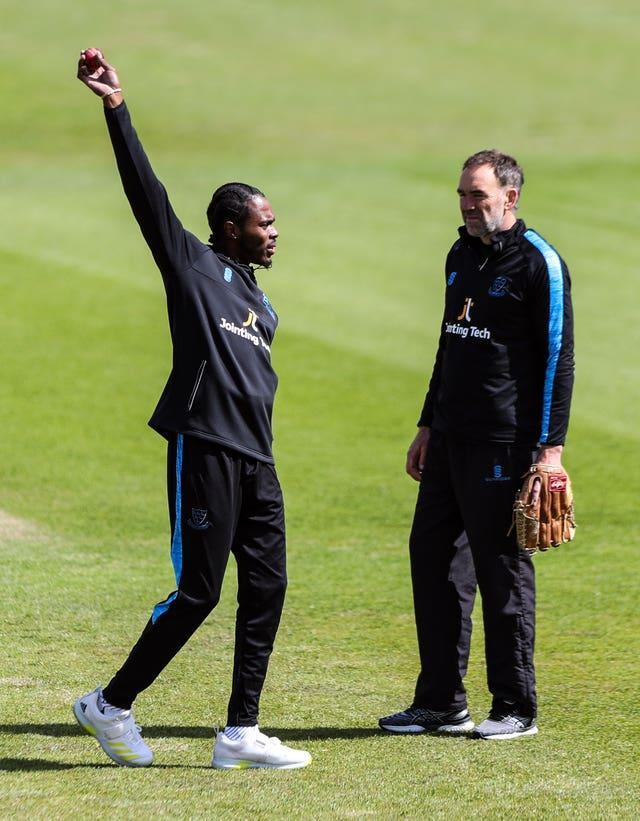 Jofra Archer (left) attempted a comeback with Sussex earlier this month